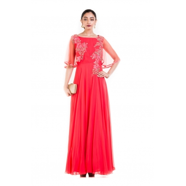 Coral Long Dress With Embroidered Half Cape.