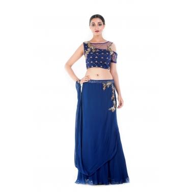 Royal Blue and Gold Embellished Croptop & Skirt Set1