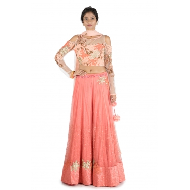Dark Peach Lehenga  With Embroidered cold shoulder blouse