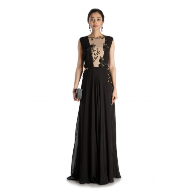 Black Waist Cutout Gown