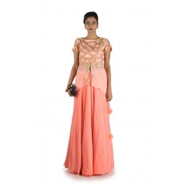 Peach Embellished Long Short Kurta And Lehenga Set