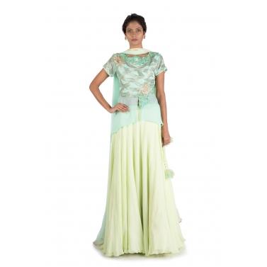 Mint Embellished Long Short Kurta And Lehenga Set
