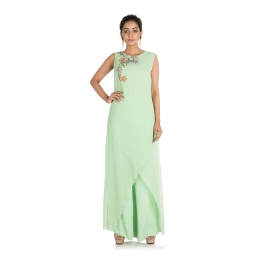 Hand embroidered Light green palazzo set