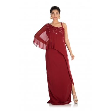 Hand embroidered Wine color one sided cape dress