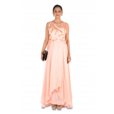 Hand embroidered Peach Overlap gown