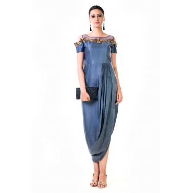Grey Hand Embroidered Cold Shoulder Draped Gown