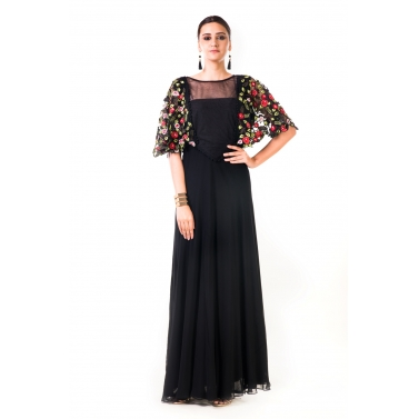 Black Hand Embroidered Cape Style Gown