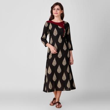 Black Kalamkari Cotton Dress with Stitch Detail