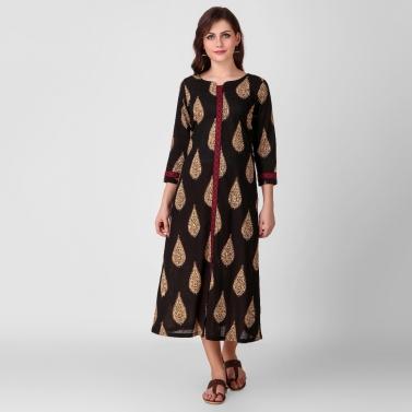Black Kalamkari Cotton Dress with Stitch Detail1
