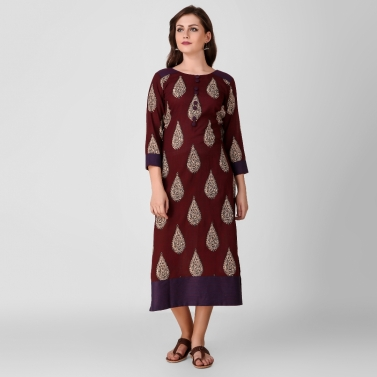 Maroon Kalamkari Cotton Dress with Stitch Detail