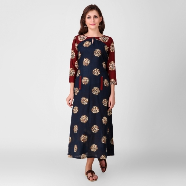 Blue Kalamkari Cotton Dress