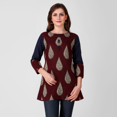 Maroon Kalamkari Cotton Tunic