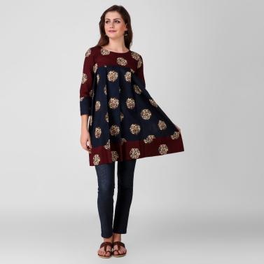 Blue Kalamkari Cotton pleated Tunic