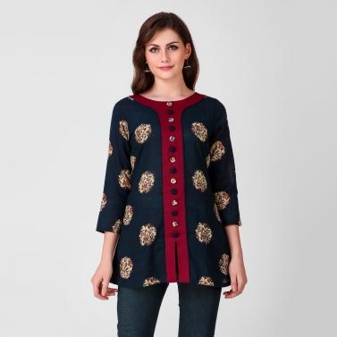 Blue Kalamkari Cotton Tunic