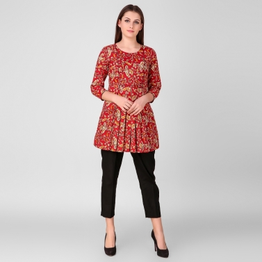 Red printed Pleated Tunic