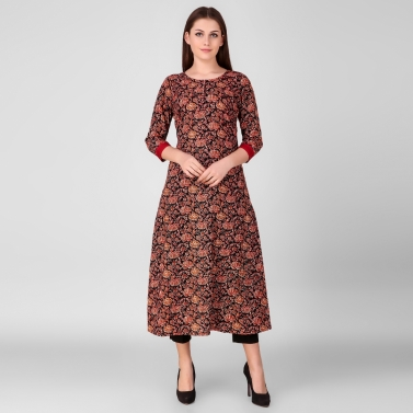 Red Black Printed Floral kurta