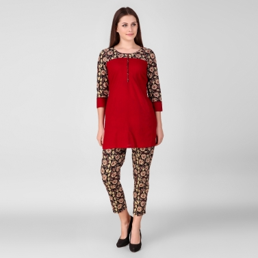 designer-womens-wear/red-printed-tunic-with-pant-set-of-2
