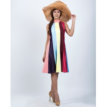 Colour Blocking Candy Strips Dress