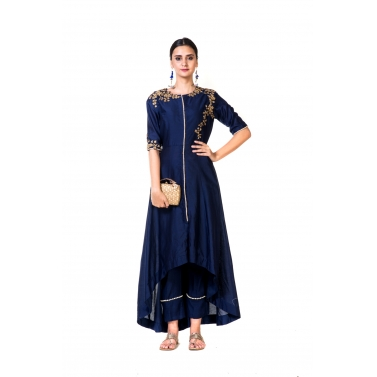 Blue High Low Embroidered Salwar Suit & Straight Pants
