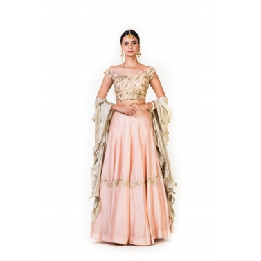 Hand Embroidered Dusty Peach  Crop Top Lehenga & Off Shoulder Blouse With a Double Layer Dupatta