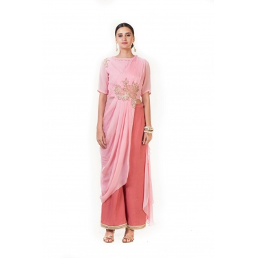 Pink Cord Embroidered Indo-western Draped Top with Palazzo Pants