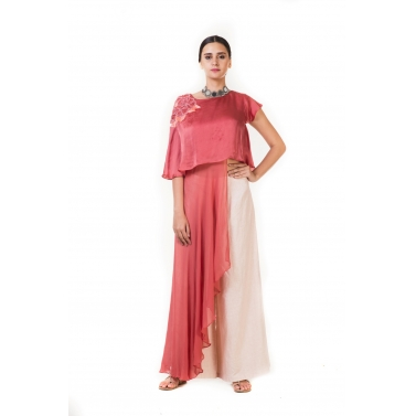 Rust Pink Embroidered Long Short Layered Indo-western Cape Top with Palazzo Pants