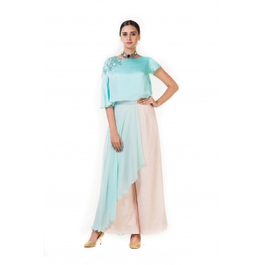 Light Blue Embroidered Long Short Layered Indo-western Cape Top with Palazzo Pants
