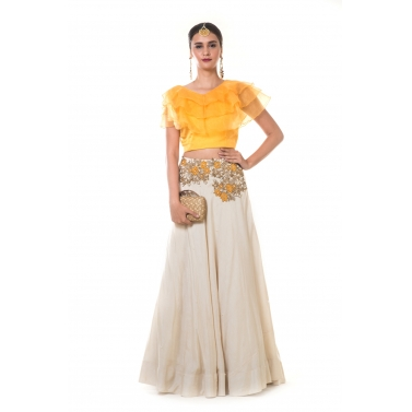 Yellow Frill Blouse with Heavy Hand Embroidered Beige Silk Lehenga