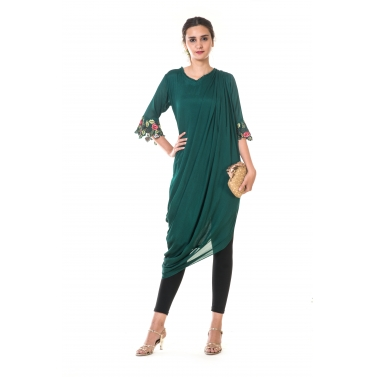 Green Floral Embroidered Asymmetrical Drape Tunic