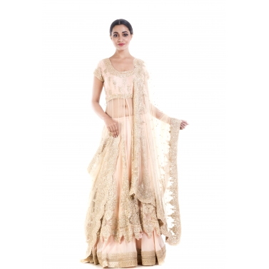 Golden Beige Embroidery Long Jacket Lehenga Set