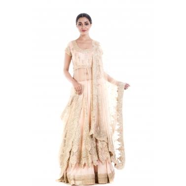 Golden Beige Embroidery Long Jacket Lehenga Set