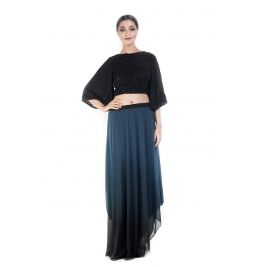 Black Crop-top & Sapphire Blue Draped Skirt