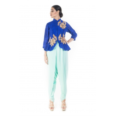 Midnight Blue Peplum Top With Turquoise Dhoti Pant