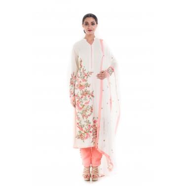 Angel White & Peach Salwar Suit