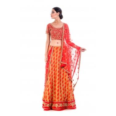 Crimson Red Gold Embellished Bridal Lehenga