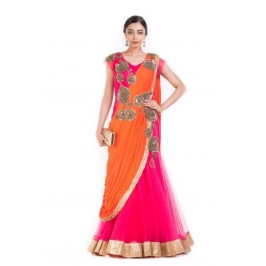 Watermelon Pink Fish Cut Gown Saree.