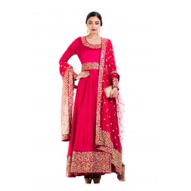Crimson Suit With Belt & Dupatta.
