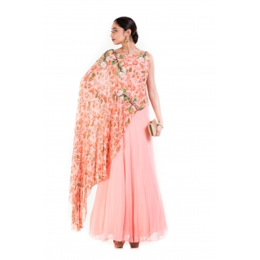 Blush Pink Printed Cape Gown.