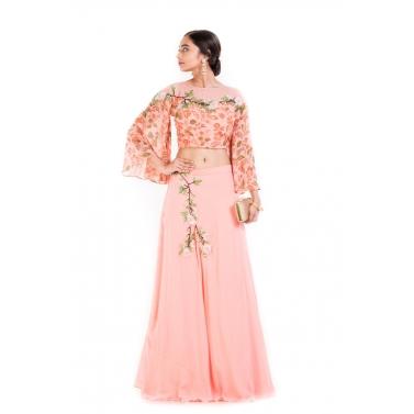 Blush Pink Printed Crop Top & Skirt.