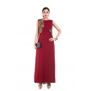 Rosewood Maroon Cape Gown.
