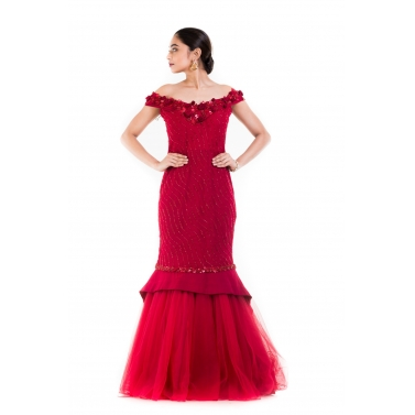 Maroon Fishtail Off Shoulder Gown.
