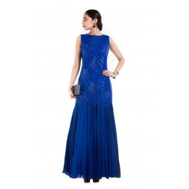 Royal Blue Sleeveless Long Gown.