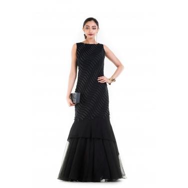 Jet Black Fishtail Off Shoulder gown.