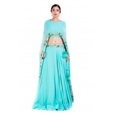 Sky Blue Cape Lehenga Set.