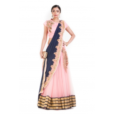 Pink And Blue Drape Lehenga With Attached Dupatta.