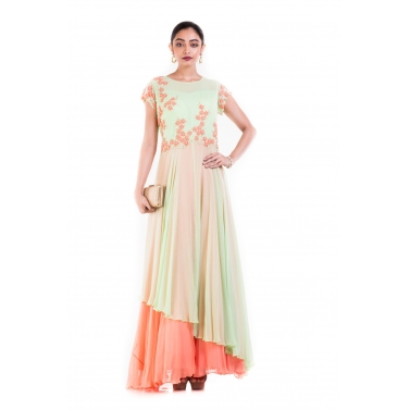 Pastel Green And Orange Double Layer gown.