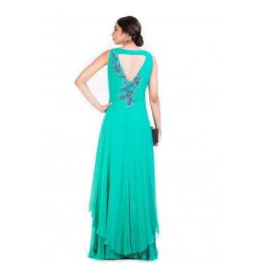 Turquoise Sleeveless Double Layer Cocktail gown.