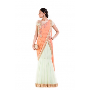 Pastel Green & Orange Drape Gown Saree.