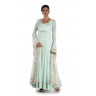 Pastel Turquoise Long Suit  Set
