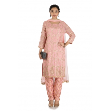 Pink Banarasi Suit Set